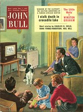 John Bull magazine cover in 1955 - the poor dog with lead in mouth is ignored by the TV-goggling family