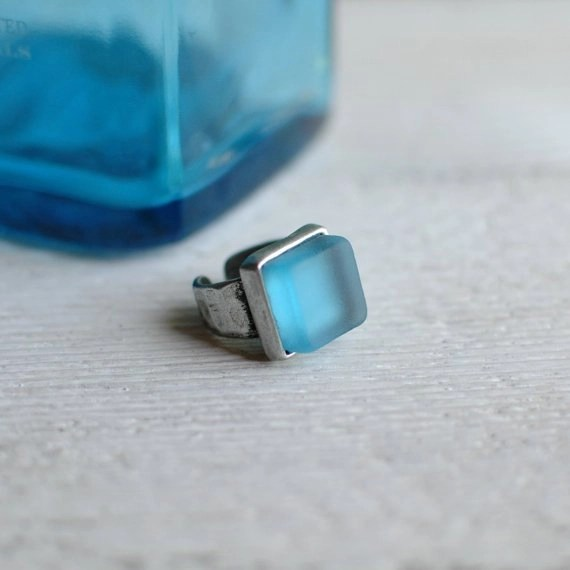 "A ring with a ""Sapphire gem"" from Bombay & Revetro for just $45!  #ReVetro,  @Etsy,  #EarthDay"