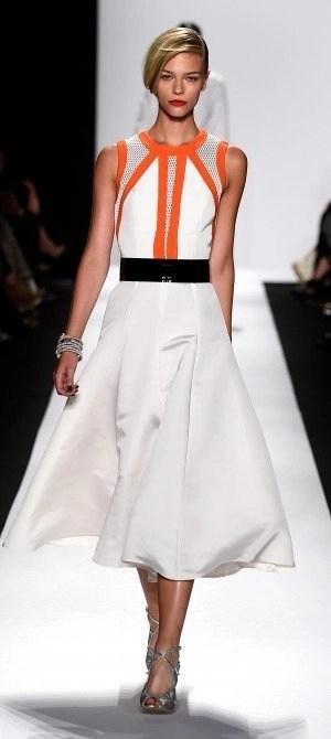 carmen marc valvo white and orange dress