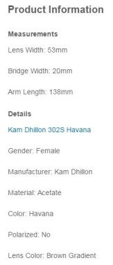 kam Dhillon sunglasses product information