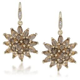 Carolee amber gem button earrings
