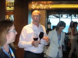 Mochael Mondavi making a point about the Escape's wine bar
