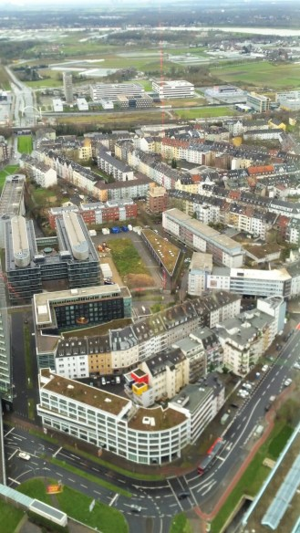 a view of Dusseldorf from the top of the Rhine Tower