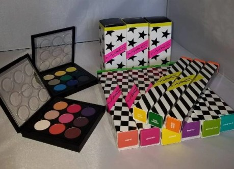MAC Cosmetics work it out collection samples and also eyes on mac palettes