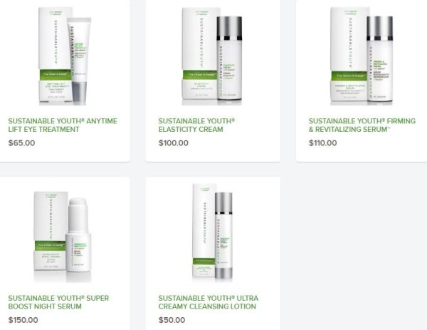 sustainable youth collectdion of skincare