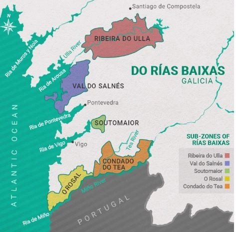map of the rias biaxas wine region in spain