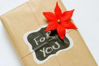 holiday for you gift box with pointsetta