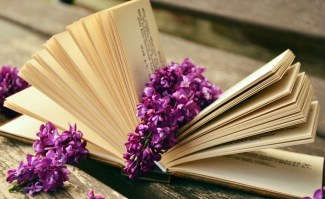 some books with lilacs