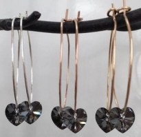 Osabe;;e grace crusta; jeart earrings gold silver and rose gold hoops