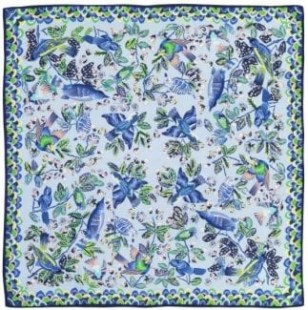 echo silk square scarf flight of fancy in blue bell