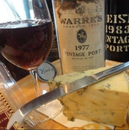 a photo of vintage port and stilton cheese