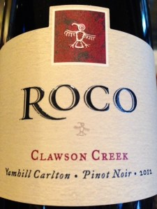 ROCO Winery Pinot Noir label