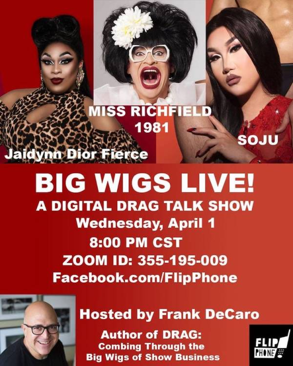 Promotional image for Big Wigs Live by Frank DeCaro, one of the queer digital events to enjoy during lockdown