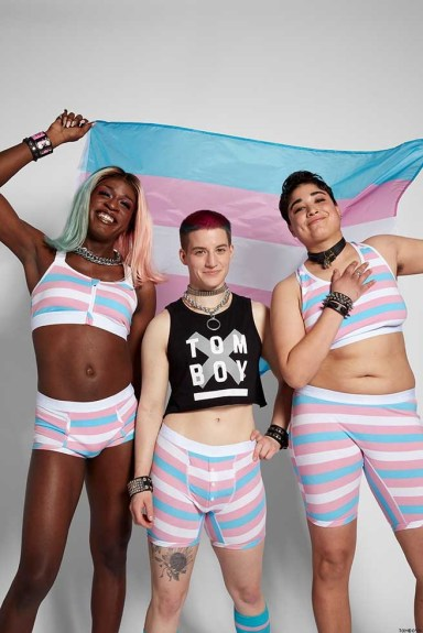 Digital announcement of Trans Pride collection of TomBoyX ahead of Trans Day of Visibility