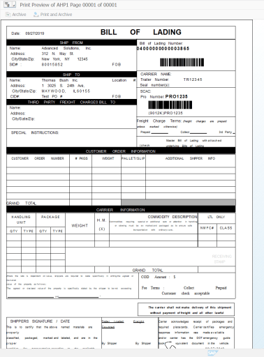 Bill of lading preview