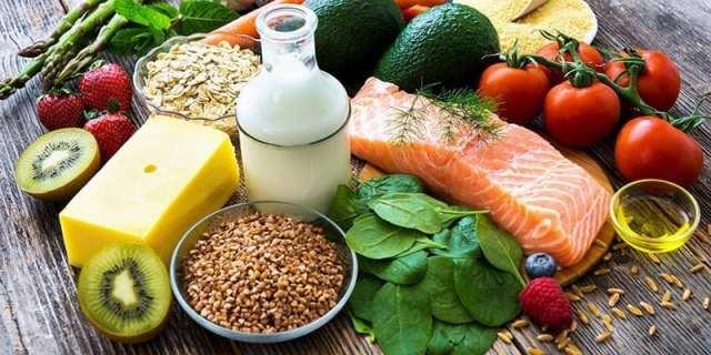 Healthy food including lean meats low fat milk whole grains and vegetables - İyi Bir Vücuda Sahip Olmanın Kuralları