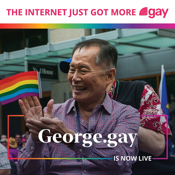 """A picture of actor George Takei clapping his hands with a small rainbow flag in one hand. The words """"George.gay is now live"""" are laid over the image."""