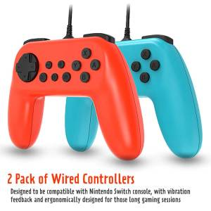 adz nintendo switch wired controllers pair of 2 red blue