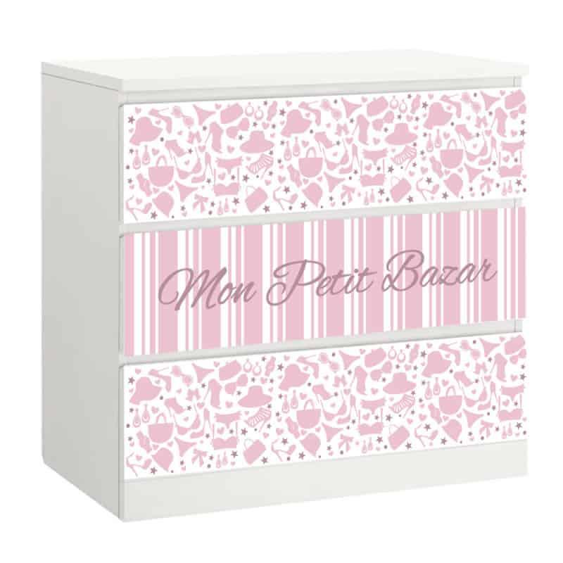 lot de 3 stickers mon petit bazar pour tiroirs sur meubles ikea malm mimalm015