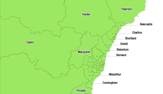 Maps   NSW federal redistribution   Australian Electoral Commission NSW current map outer metro