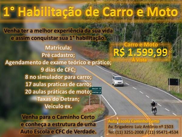 Promoção Habilitação de Carro e Moto