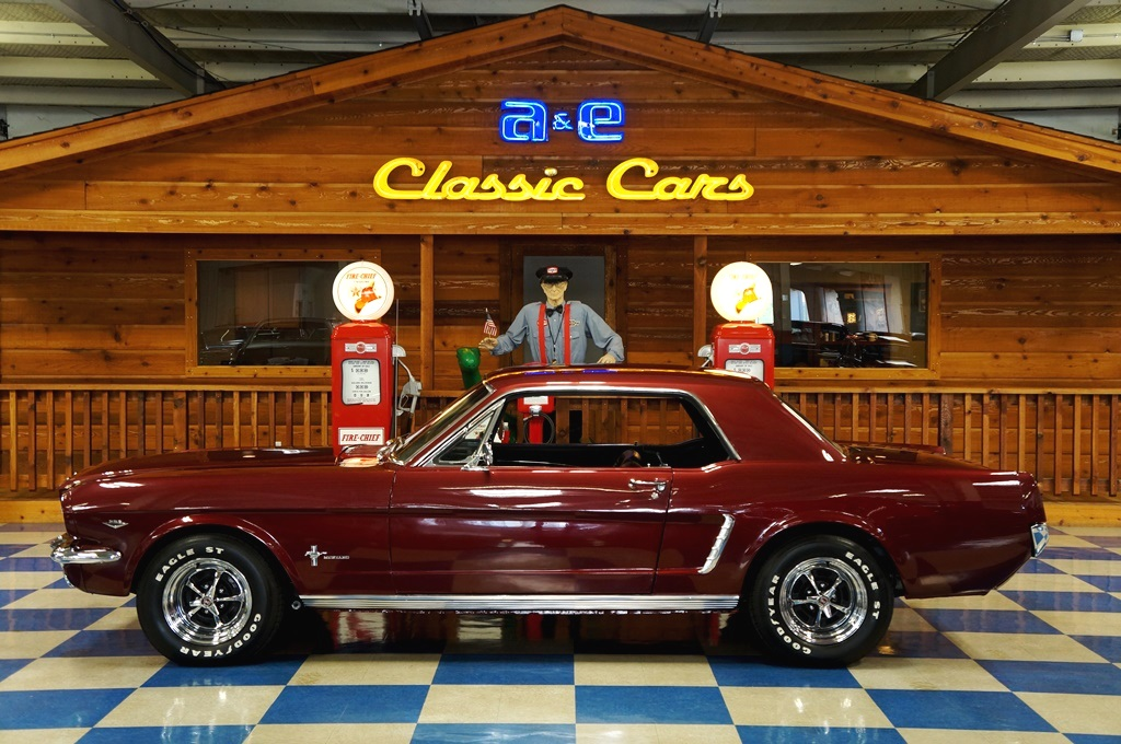 1965 Ford Mustang Coupe     Maroon     A E Classic Cars 1965 Ford Mustang Coupe     Maroon full
