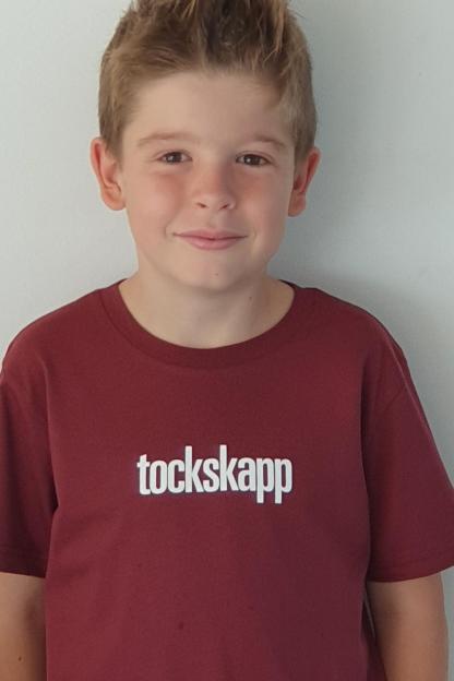 "KIDS' T-Shirt 'tockskapp', Shirt colour ""burgundy"", Print white"