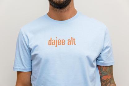 "MEN'S T-SHIRT ""dajee alt"": Shirt colour ""Sky blue"", Print ""orange"""