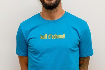 "MEN'S T-SHIRT ""kuff d'schmull"": Shirt colour ""Ocean depth"", Print ""orange"""