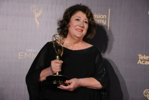 "Margo Martindale poses in the press room with the award for outstanding guest actress in a drama series for ""The Americans"" during night one of the Creative Arts Emmy Awards at the Microsoft Theater on Saturday, Sept. 10, 2016, in Los Angeles. (Photo by Richard Shotwell/Invision/AP)"