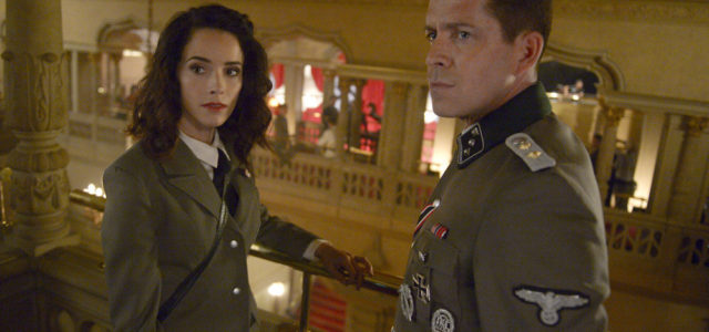 """TIMELESS -- """"Party At Castle Varlar"""" Episode 103 -- Pictured: (l-r) Abigail Spencer as Lucy Preston, Sean Maguire as Ian Fleming -- (Photo by: Sergei Bachlakov/NBC)"""