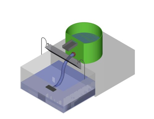 Basic AutoCAD mockup of a portable, standalone flotation machine designed to use recycling water for soil sample processing.