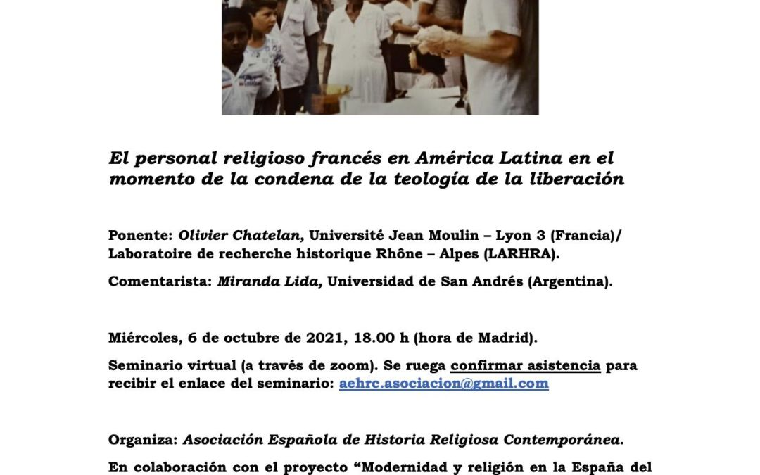 SEMINARIO DE HISTORIA RELIGIOSA CONTEMPORANEA FELICIANO MONTERO (6 octubre, 2021)