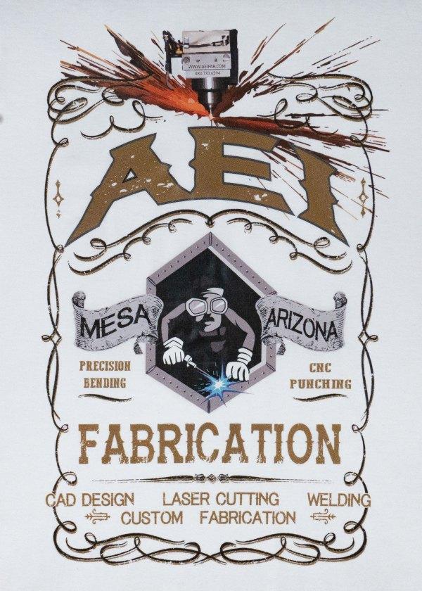 AEI Fabrication Shiner Mens T-Shirt White Rear View