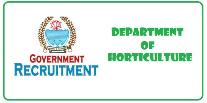Directorate of Horticulture, Government of Jammu and Kashmir Recruitment 2018