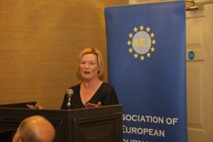 Eileen Dunne introducing the British Ambassador, Dominick Chillcott.