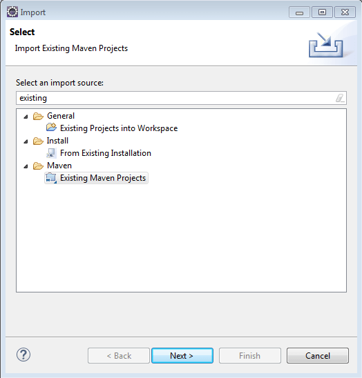 Import existing maven project in eclipse