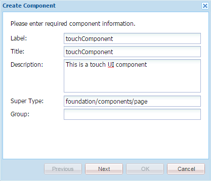 create component for touch ui in aem6
