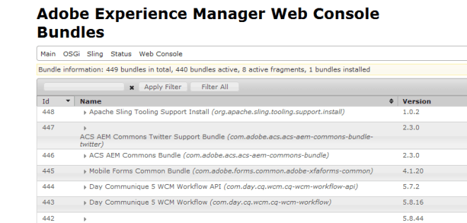 Sling tooling support bundle aem