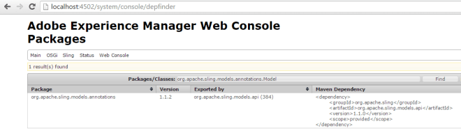 find sling model dependency in aem depfinder