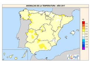 Anomalía de temperatura media anual