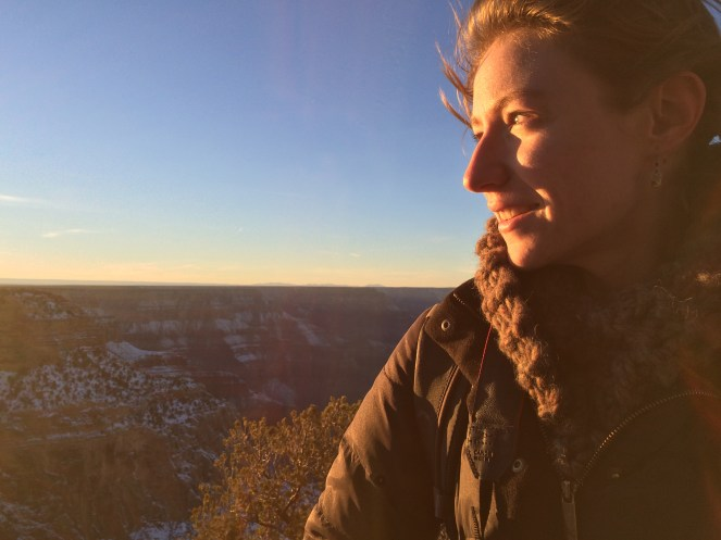 Abby looking at the sunset over Hopi Point, Grand Canyon, January 3rd 2015.