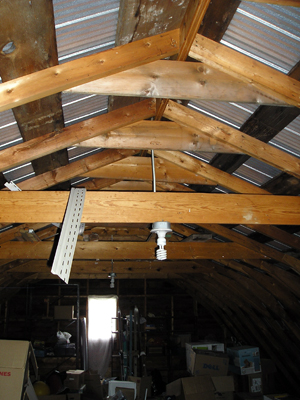Looking up at the inside ceiling 2nd floor of the Garage