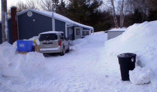 Driveway dug out of snow.
