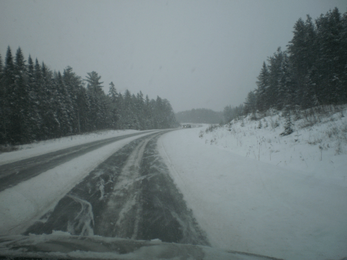 Snowy Road in Fredericton, NB on Tuesday, 29 December, 2015.