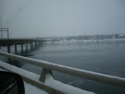 Westmorland Bridge, Fredericton, NB. in a snow storm, Tuesday, 29 December, 2015.