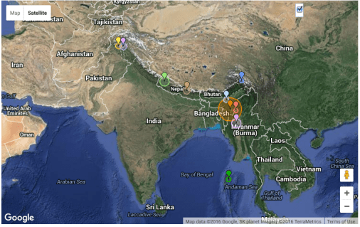 Earthquake Map of India captured around noon on January 4th, 2016.