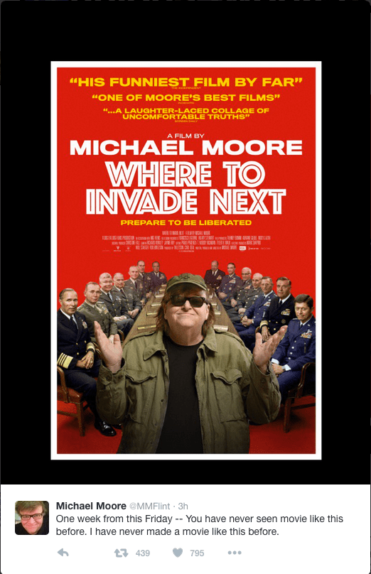Michael Moore advertizing his newest movie.