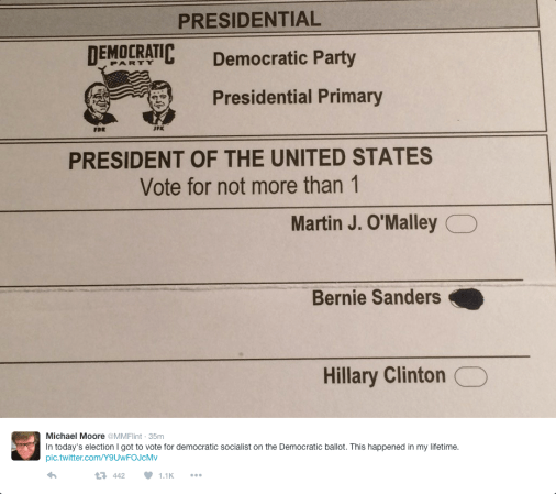 Michael Moore's ballot - he voted for Bernie Sanders.