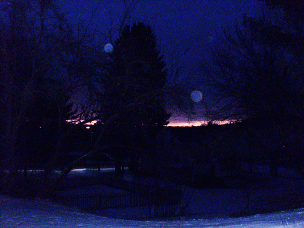 Pre dawn sky with orbs.
